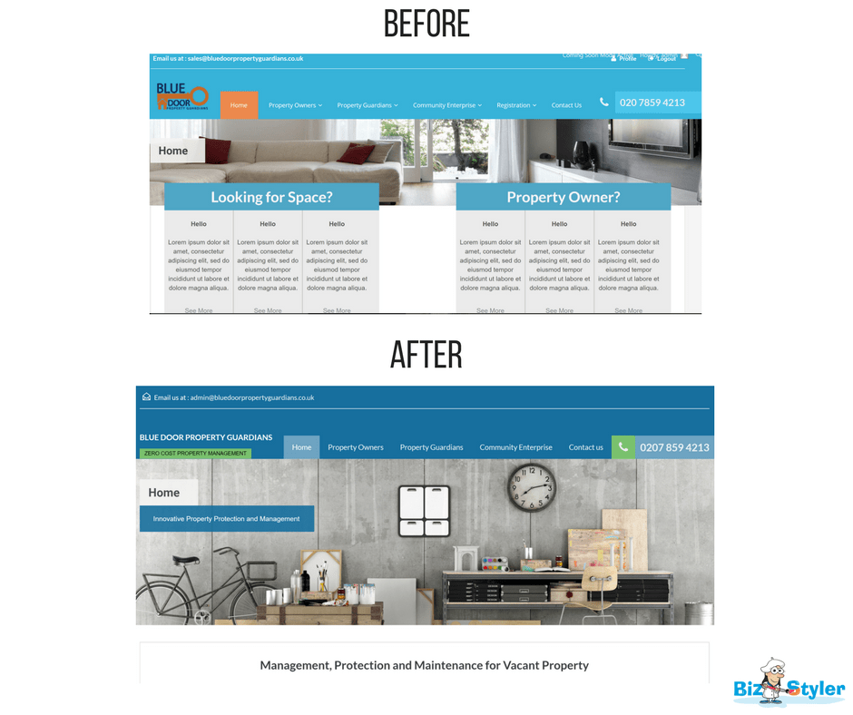 Bizstyler - Client - Blue Door Property Guardians - Website