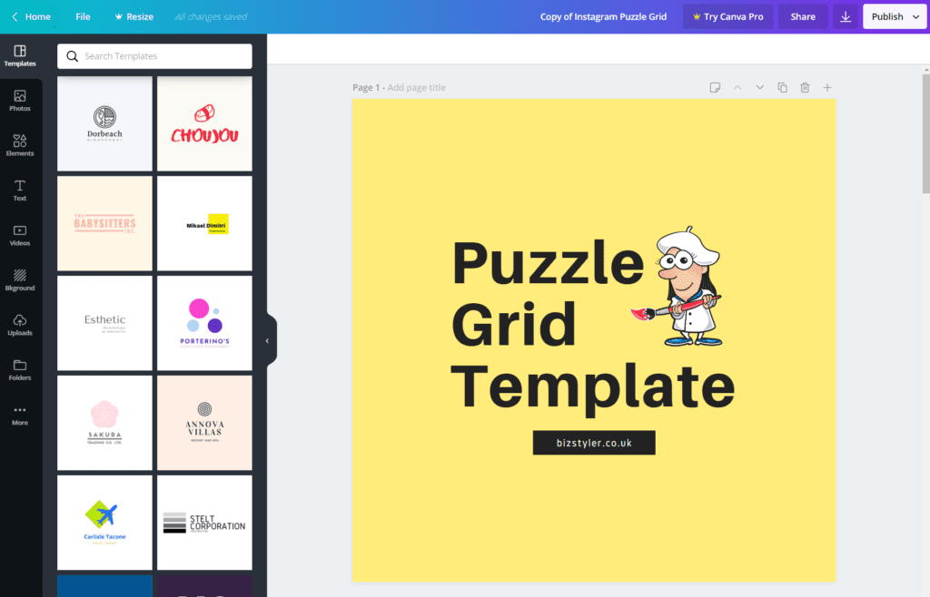 Free Instagram Puzzle Grid Canva Template