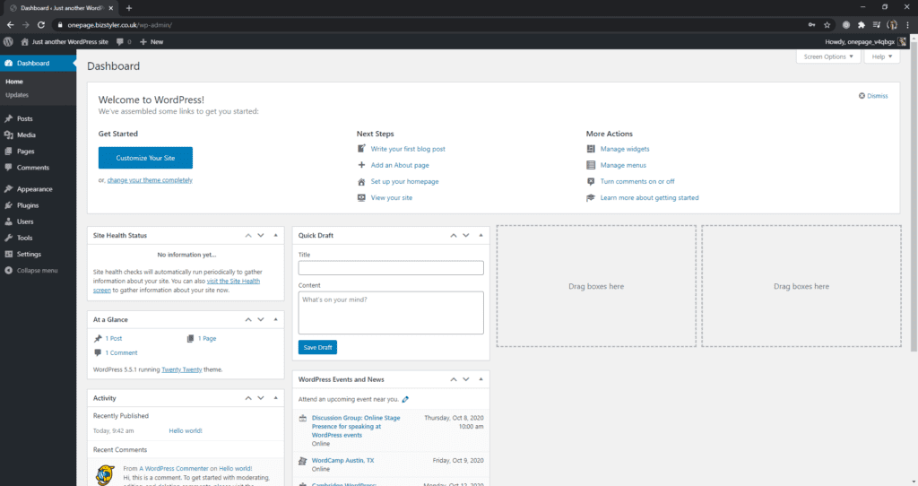 Dashboard after installing WordPress