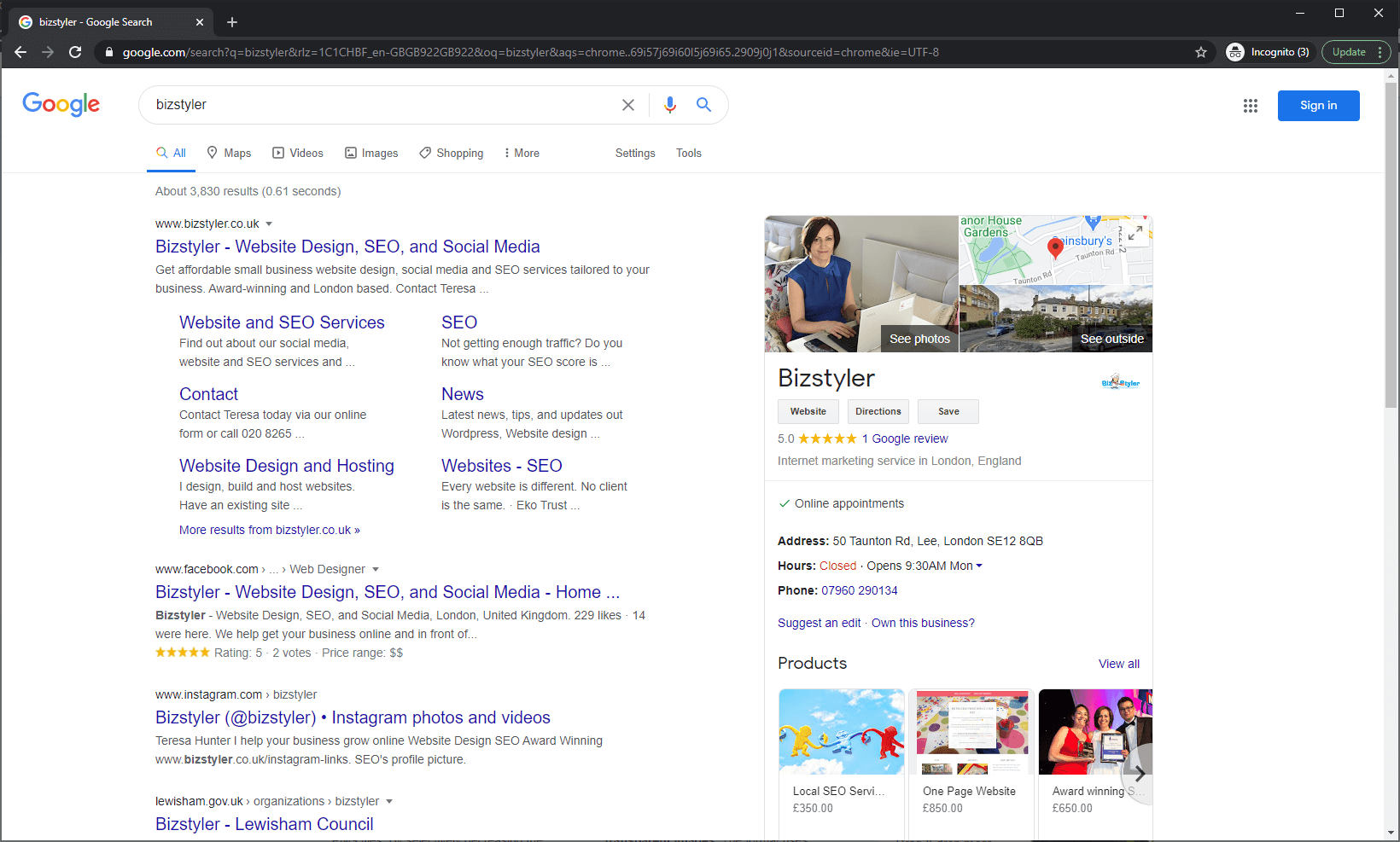 Google My Business - Bizstyler