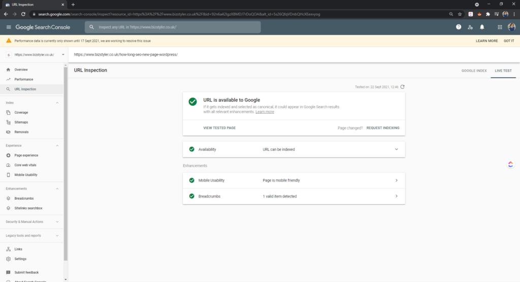 inspect url result search console bizstyler