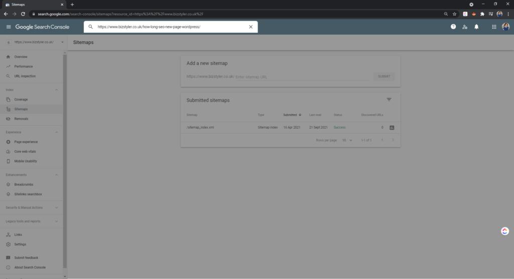 inspect url search console bizstyler
